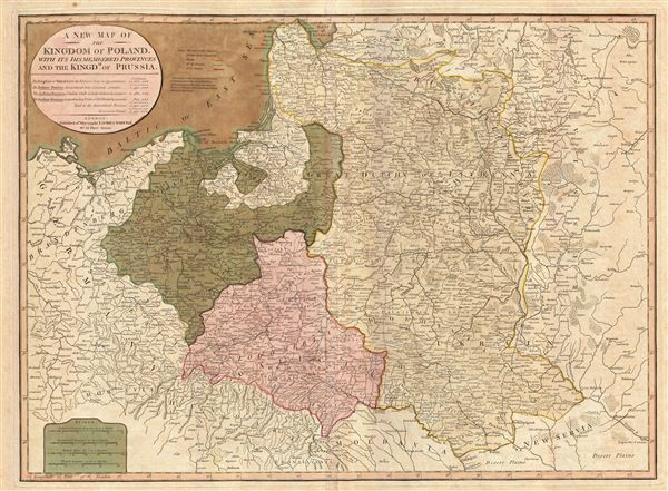 A New Map of the Kingdom of Poland, with its dismembered provinces and the Kingdm. of Prussia.