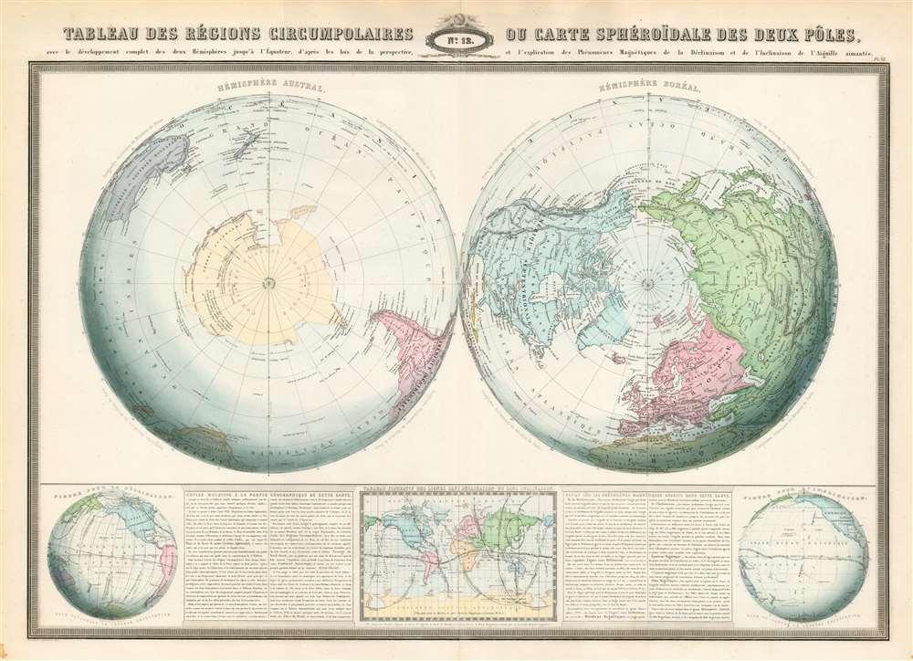 Tableau des régions circumpolaires ou carte sphéroïdal des deux pôles. - Main View