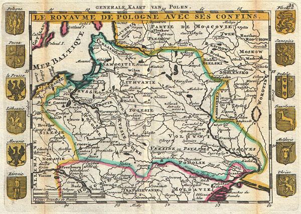 Le Royaume de Pologne avec ses Confins. / Generale Kaart van Polen.