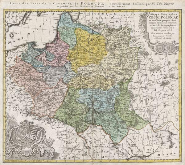Mappa Geographica Regni Poloniae ex novissimis quotquot sunt mappis specialibus composita et al L.L. Stereographicae projectionis revocata a Tob. Mayero.