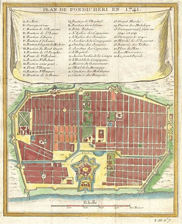 Plan de Pondicheri en 1741.