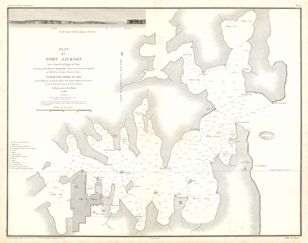 1828 Bougainville Nautical Map of Port Jackson, Sydney, Australia