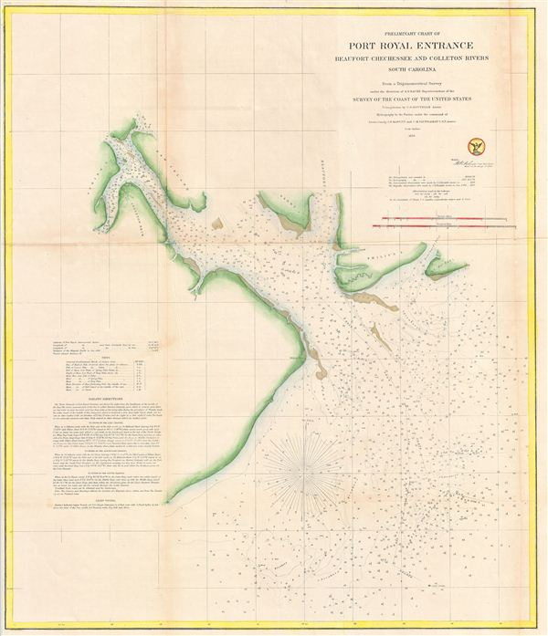 Preliminary Chart of Port Royal Entrance Beaufort Chechessee and Colleton Rivers South Carolina. - Main View