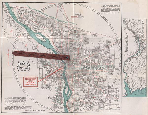 Hibernia Guide Map of Portland Oregon. - Main View