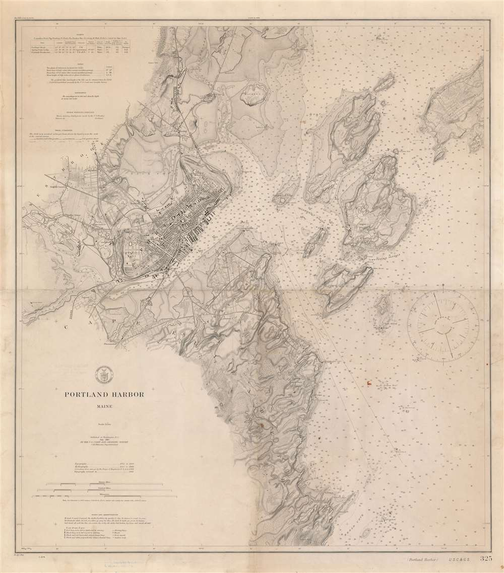 1914 U.S.C.G.S. Nautical Chart or Maritime Map of Portland Harbor, Maine