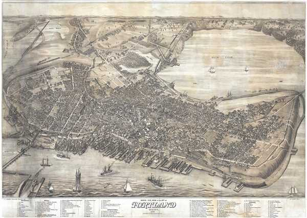 Bird's Eye View of the City of Portland Maine, 1876.