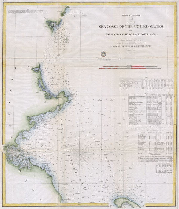 Preliminary Chart No. 3 of the Sea Coast of the United States from Portland Maine to Race Point Mass. - Main View