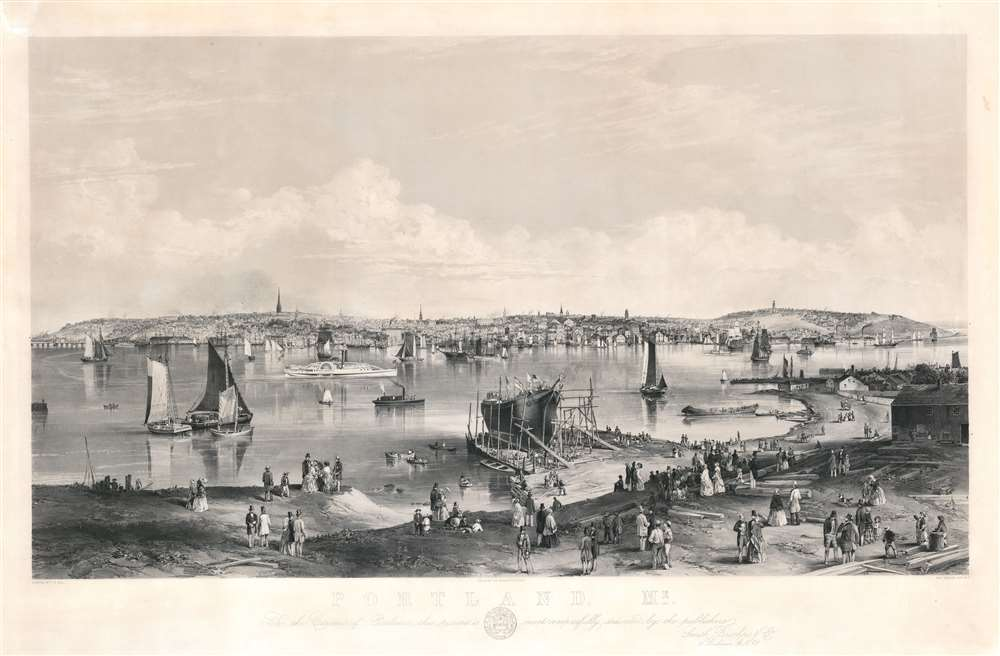 1855 John William Hill Panoramic View of Portland, Maine