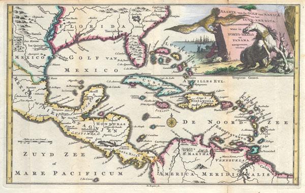 Kaarte Van de Golf van Mexico en het Zuyd-America waar in Porto-Bello en Panama aangewezen warden.