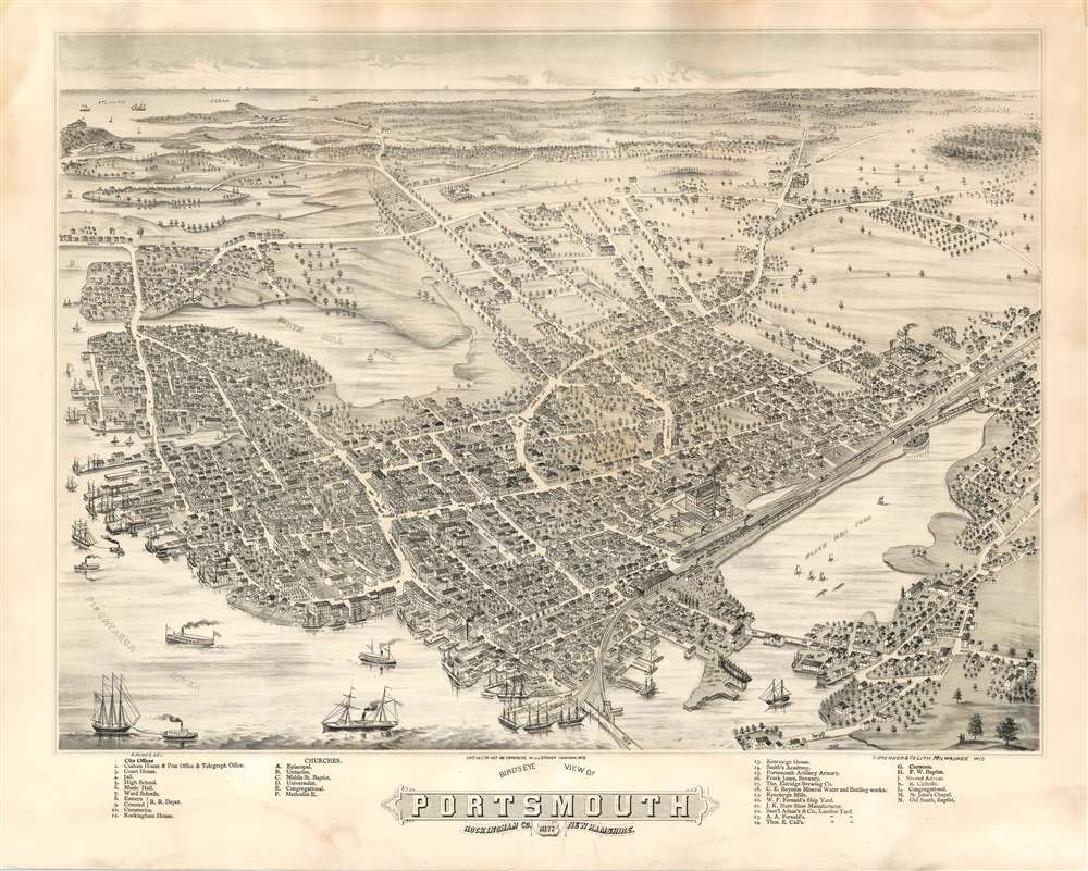 Bird's Eye View of Portsmouth Rockingham Co. New Hampshire, 1877. - Main View