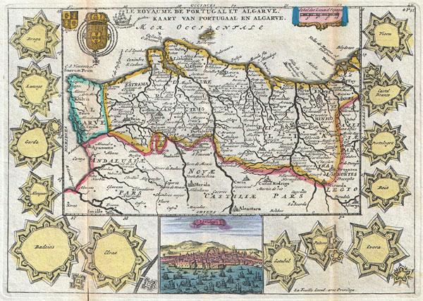 Le Royaume de Portugal et Algarve. / Kaart van Portugaal en Algarve.