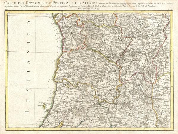 Carte des Royaumes de Portugal et D'Algarve.