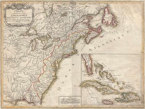 Carte des Possessions Angloises Dans L'Amerique Septentrional Pour Servir d'Intelligence á la Guerre presente Traduite de L'Anglois Par J. Leopold Imbert.