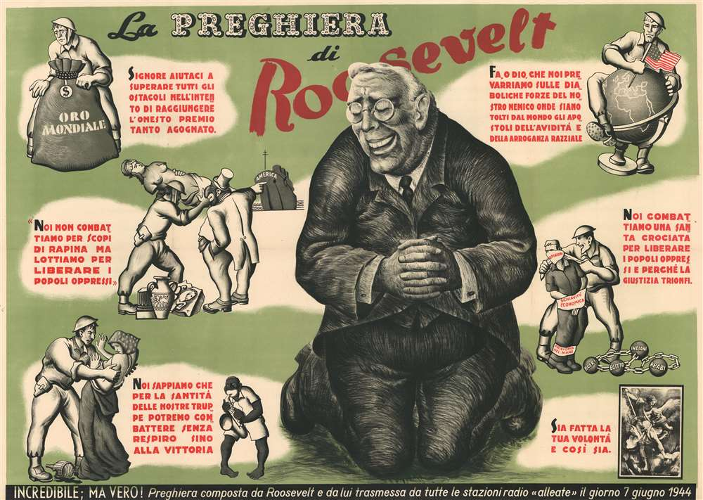 1944 Italian Fascist Anti-American Anit-Roosevelt Broadside Deriding Hypocrisy