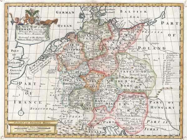 A New Map of Present Germany, Shewing Its Principal Divisions, Cities, Towns, Rivers, Mountains, etc.