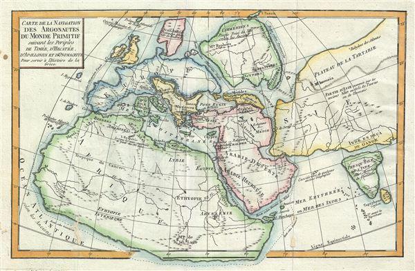 Carte de la Navigation des Argonautes du monde Primitif suivant les periples de Timee, d'Hecatee, d'Apollonius et d'Onomacrite Pour servir a l'Histoire de la Greece.