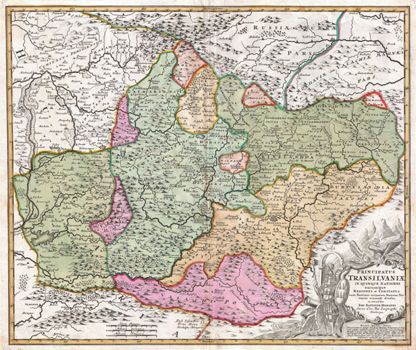 Principatus Transilvaniae in quinque Nationes earum'que Regiones es comitatus cum finitimis vicinorum Statuum Provinciis accuraté divisus.