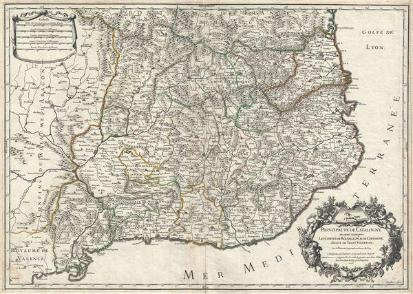 Principaute de Catalogne ou sont compris les Comtes de Roussillon, et de Cerdagne, divisees en leurs Vigueries.