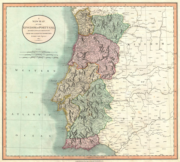 1801 Cary Map of Portugal