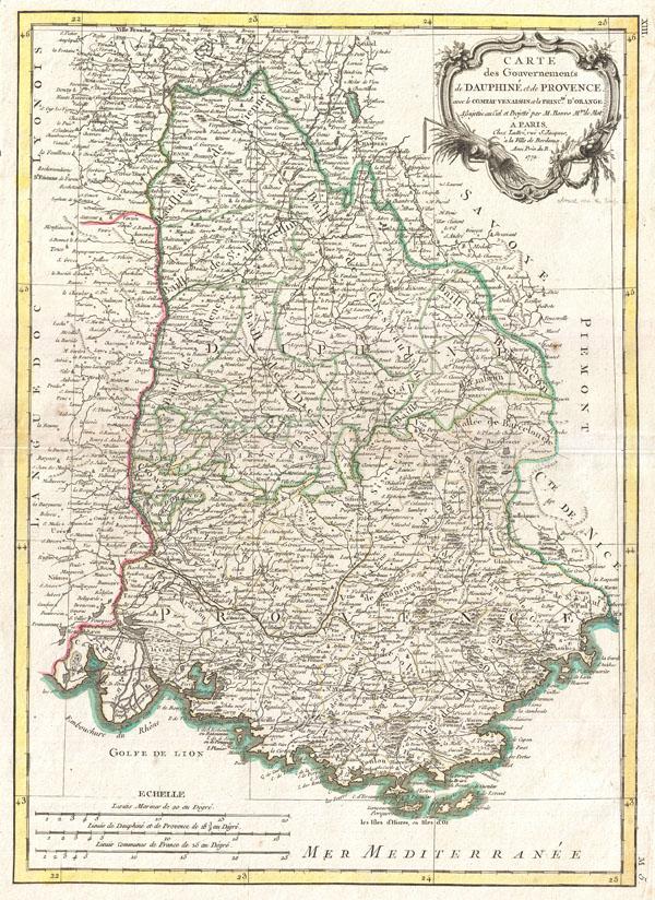 Carte des Gouvernements de Dauphine et de Provence avec le Comtat Venaissin et la Princte. D'Orange.