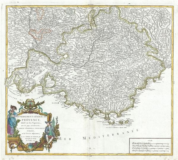 Gouvernement General de Provence, divise en ses Vigueries, avec les pays circonvoisins, le Comtat Venaissin, la Principaute d'Orange, et les terres adjacentes.