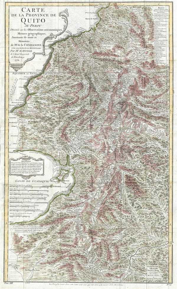 Carte de la Province de Quito au Perou. Dressée sur les observations astronomiques, mesure géographiques, journaux de route et mémoires de Mr. de Condamine et sur ceux de Don Pedro Maldonado.