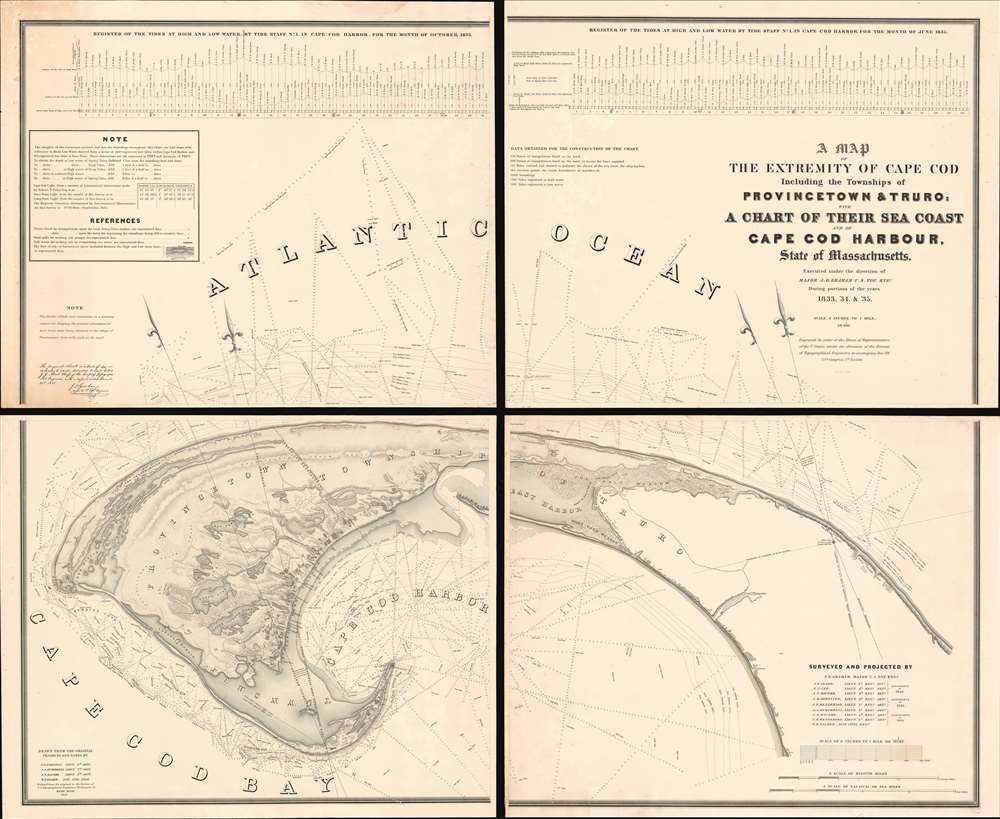 A Map of the Extremity of Cape Cod Including the Townships of Provincetown & Truro: A Chart of Their Sea Coast and of Cape Cod Harbour, State of Massachusetts.