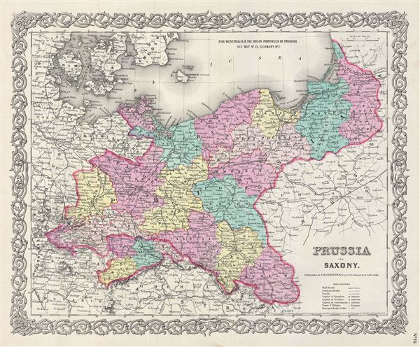 1856 Colton Map of Prussia and Saxony, Germany