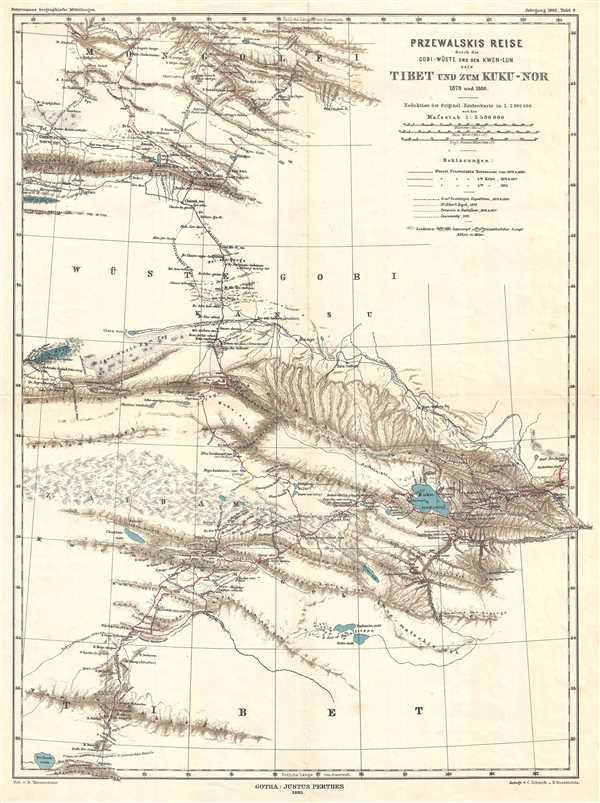 Przewalski's Reise durch die Gobi-Wüste und den Kwen-Lun nach Tibet und zum Kuku-Nor 1879 und 1880.