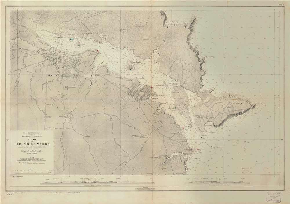 Mar Mediterráneo. Islas Baleares. Menorca. Plano del Pureto de Mahon. - Main View