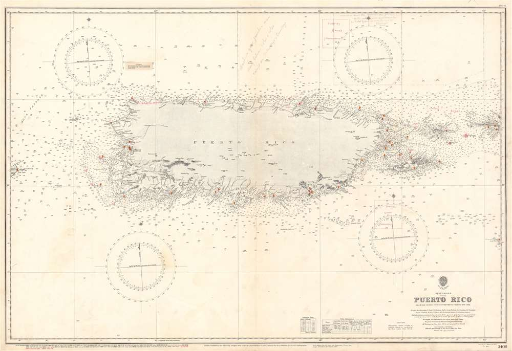 1950 Admiralty Nautical Map of Puerto Rico w/ interesting notations