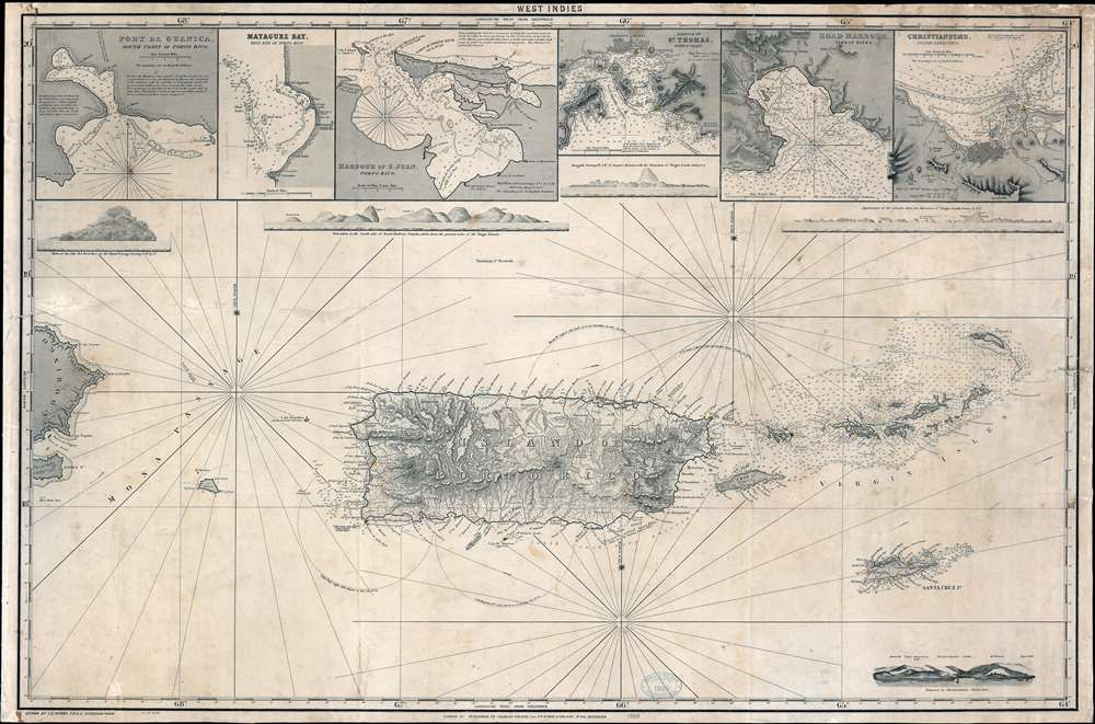 1888 Wilson Nautical Chart or Map of Porto Rico and the Virgin Islands