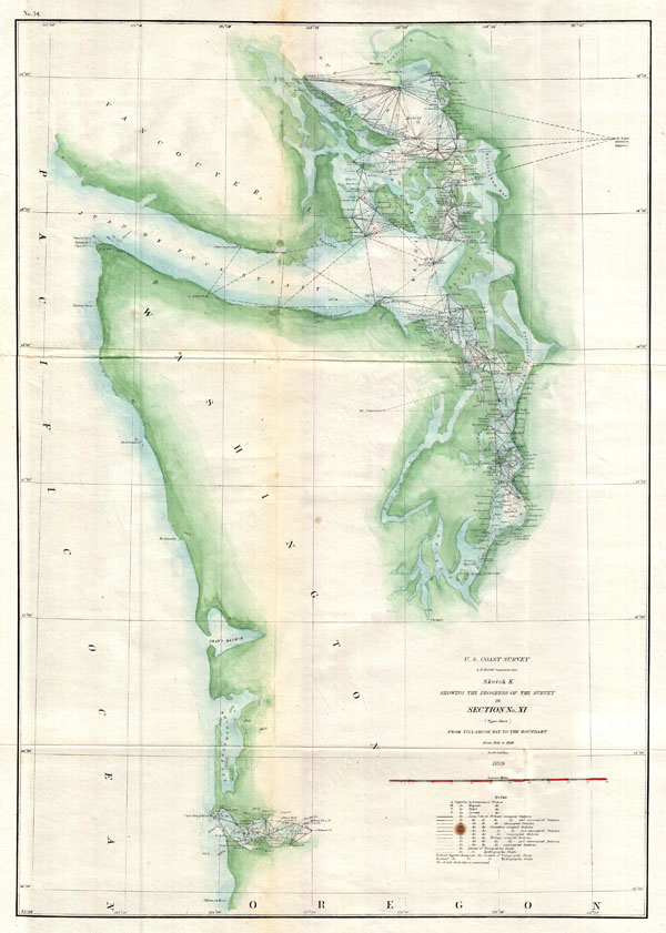 Sketch K Showing the Progress of the Survey in Section No. XI (Upper Sheet) from Tillamook Bay to the Boundary.