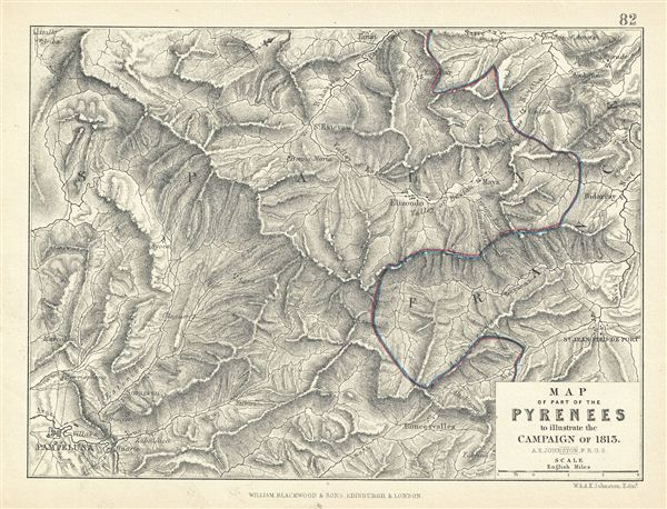 Map of Part of the Pyrenees to illustrate the Campaign of 1813.