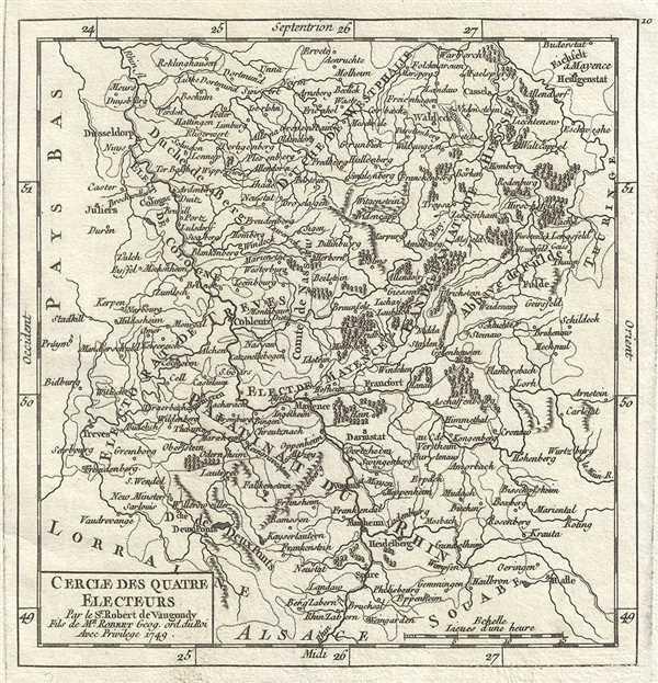 1749 Vaugondy Map of the Electoral Rhenish Circle of Germany (Riesling Wine Region)