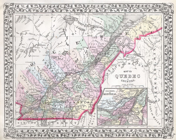 Map of Quebec in counties. - Main View