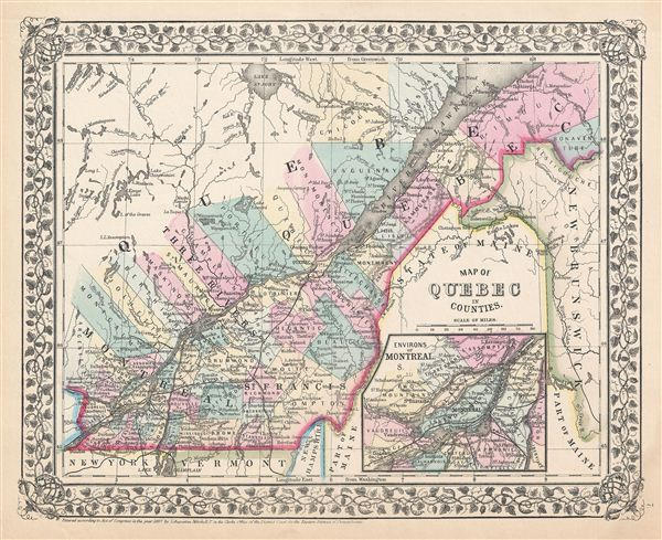 Quebec On Map Of Canada.Map Of Quebec In Counties Geographicus Rare Antique Maps