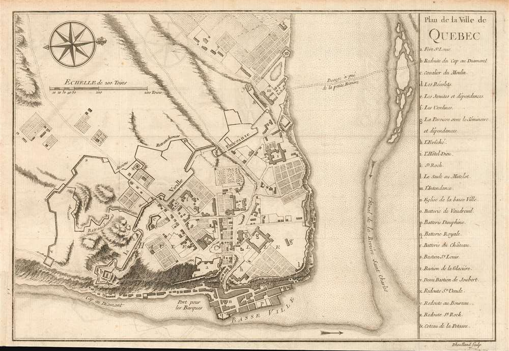 1744 Bellin Map of Quebec City, Canada