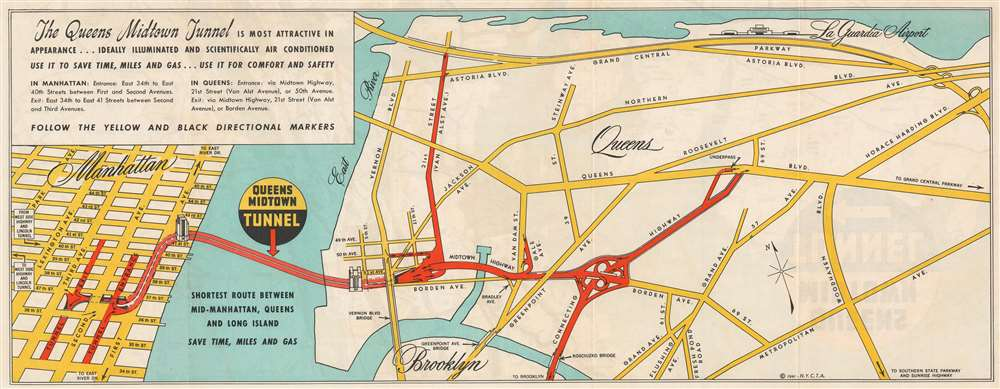 1941 New York City Tunnel Authority Map of the Queens Midtown Tunnel