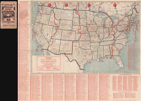 Cram's Detailed Radio Map of Broadcasting Stations of the United States and Canada. - Main View