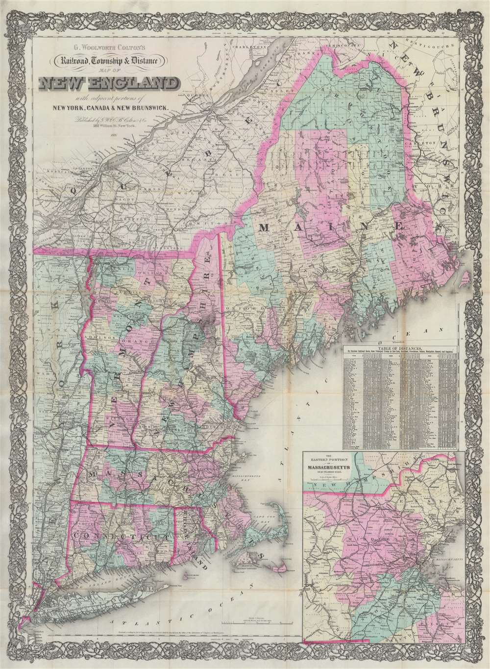 G. Woolworth Colton's Railroad, Township and Distance Map of New England with adjacent portions of New York, Canada and New Brunswick. - Main View