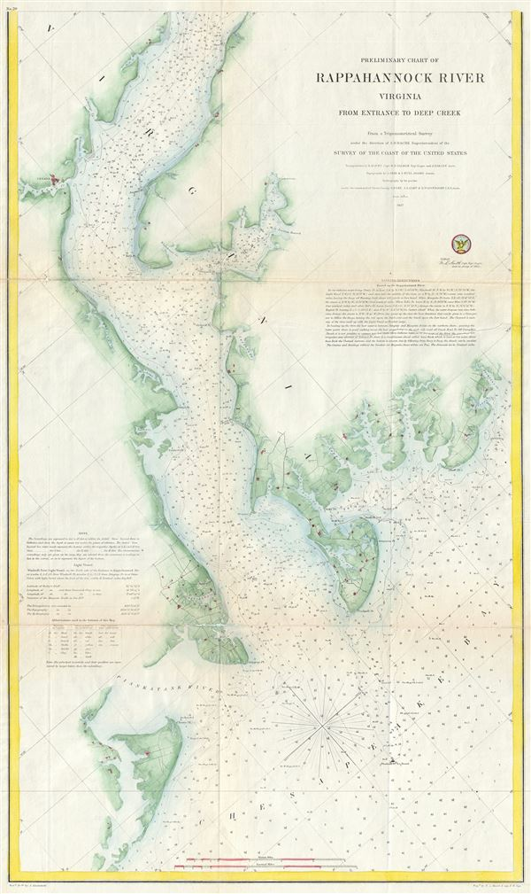 Preliminary Chart of Rappahannock River Virginia from Entrance to Deep Creek. - Main View