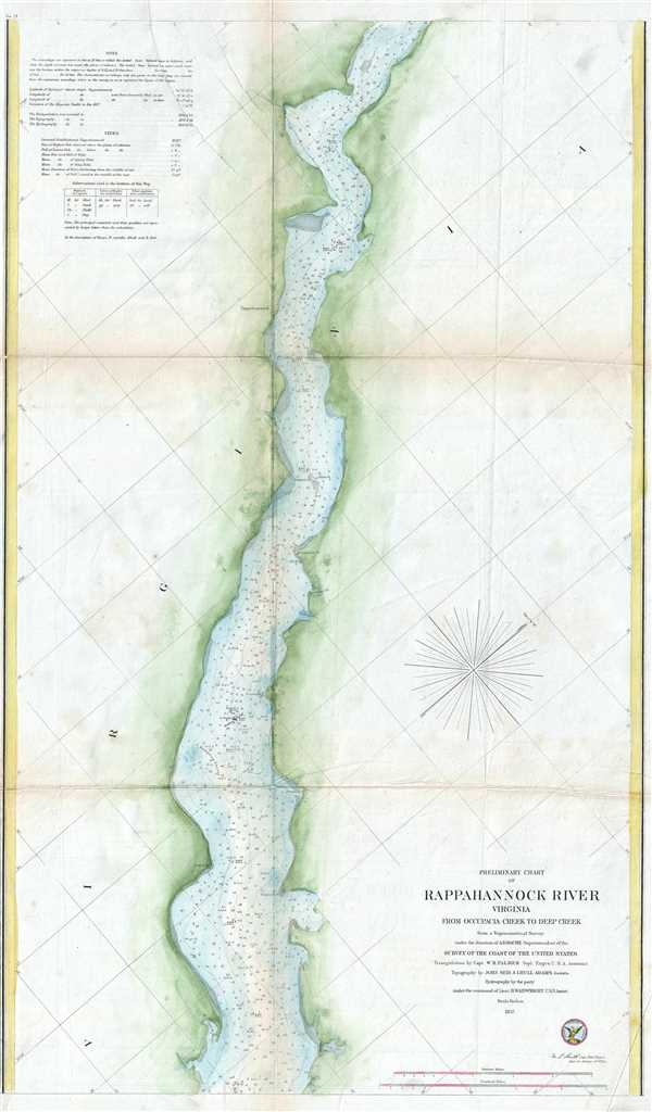 Preliminary Chart of Rappahannock River Virginia from Occupacia Creek to Deep Creek.