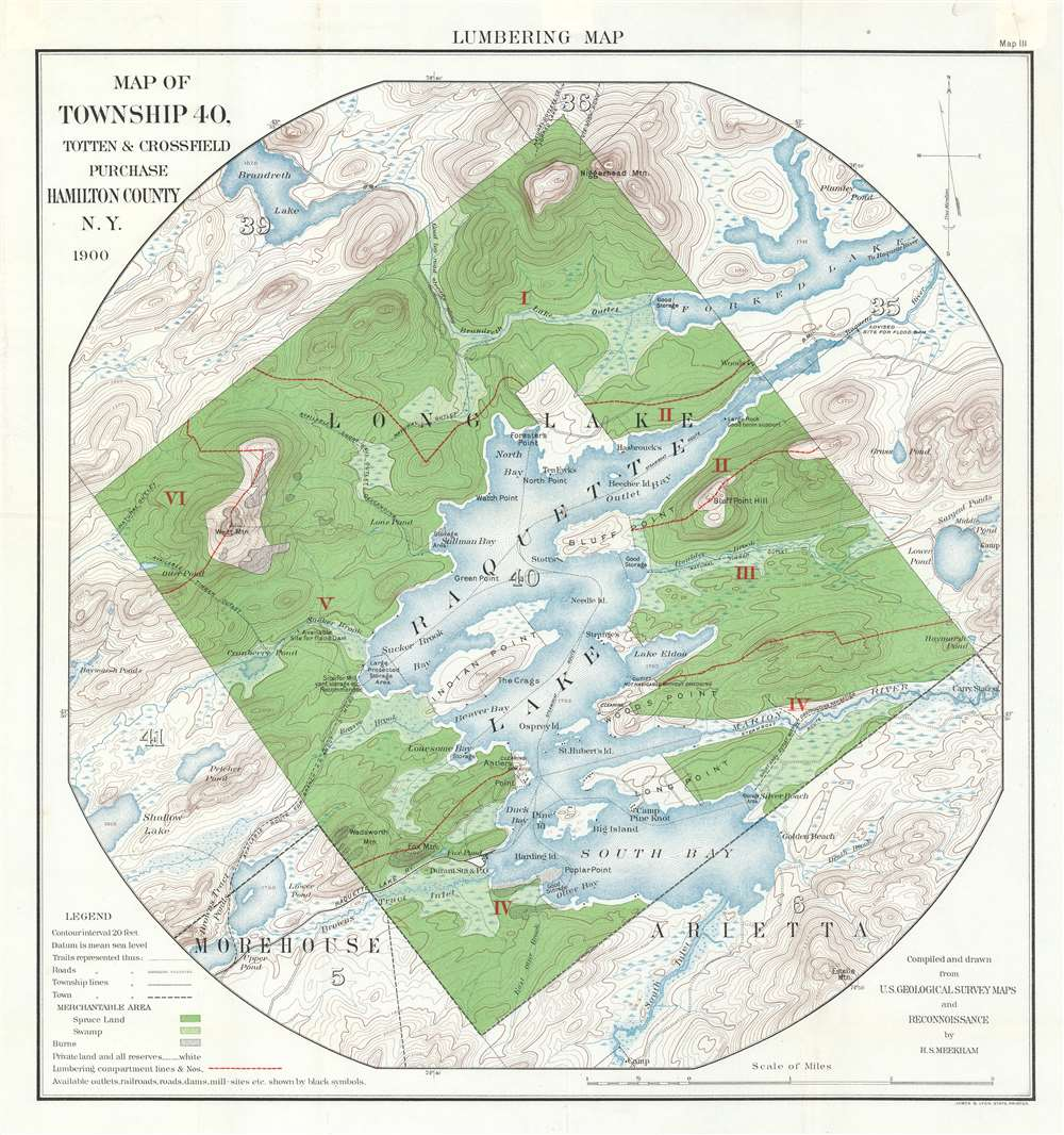 Lumbering Map  Map of Township 40, Totten and Crossfield Purchase