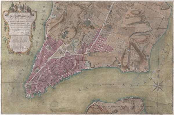 To His Excellency Sr. Henry  Moore, Bart. Captain General and Governour in Chief in and over the Province of New York and the Territories depending thereon in America Chancellor and Vice admiral of the same, This Plan of the City of New York, is most HUmbly INscribed, by His Excellency's Most Obedient Servant, Bernd. Ratzen.