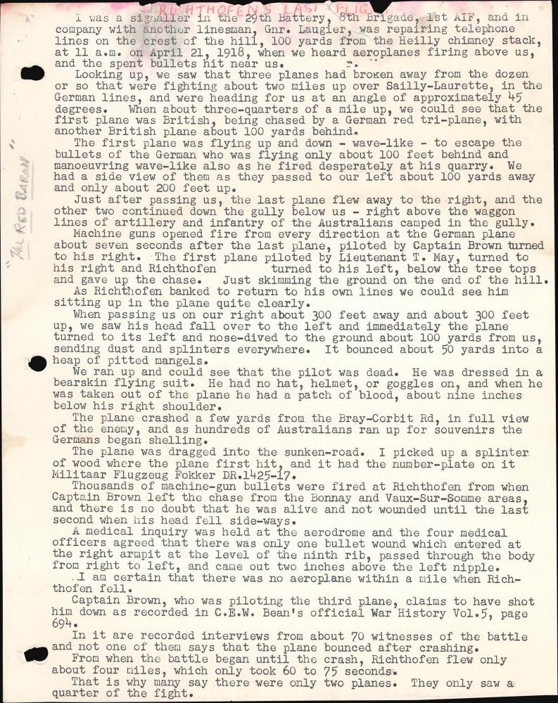 ['Red Baron' Manfred von Richthofen Archive]. - Alternate View 3
