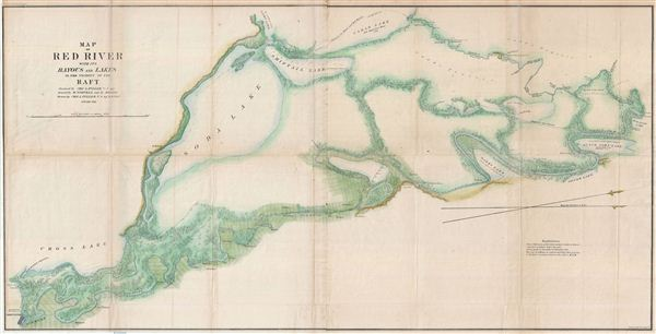 Map Of Red River With Its Bayous And Lakes In The Vicinity Of The - Louisiana lakes map