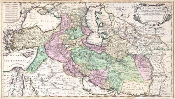 Regnum Persicum Imperium Turcicum in Asia Russorum Provinciae and Mare Caspium.