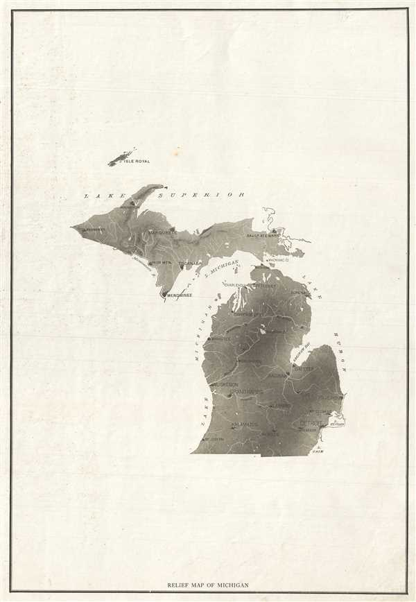 Relief Map of Michigan. - Main View