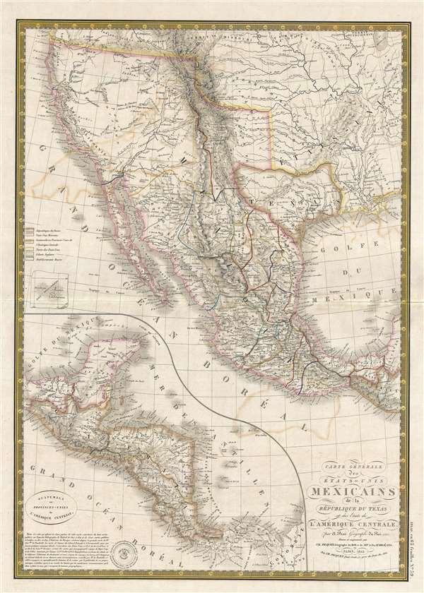 Carte générale des États-Unis Mexicains, de la République du Texas et des etats de l'Amérique Centrale.